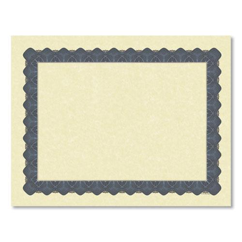 Metallic Border Certificates, 11 x 8.5, Ivory/Blue, 100/Pack. Picture 2