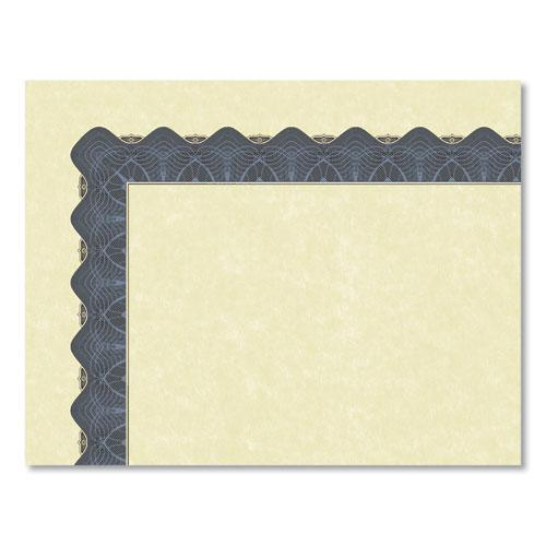 Metallic Border Certificates, 11 x 8.5, Ivory/Blue, 100/Pack. Picture 3