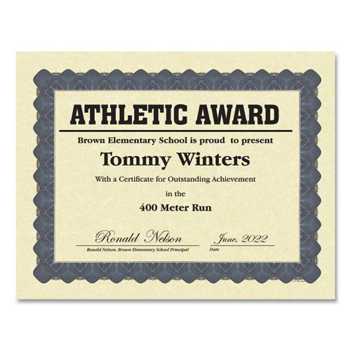 Metallic Border Certificates, 11 x 8.5, Ivory/Blue, 100/Pack. Picture 1