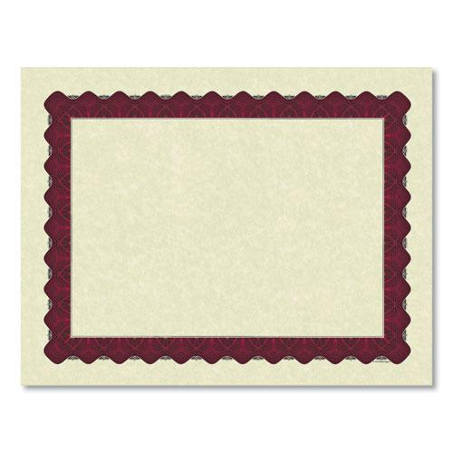 Metallic Border Certificates, 11 x 8.5, Ivory/Red, 100/Pack. Picture 2