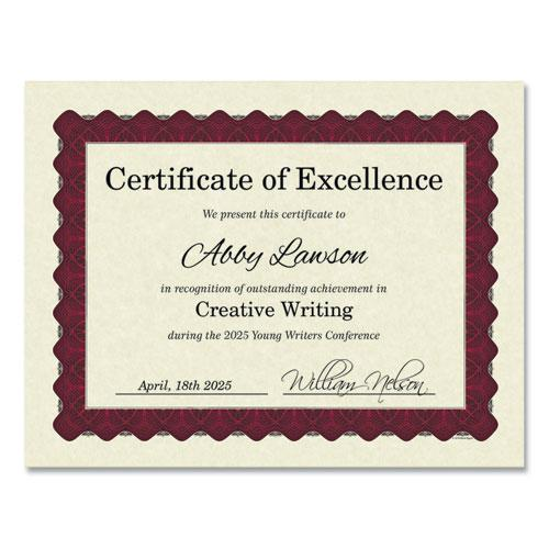 Metallic Border Certificates, 11 x 8.5, Ivory/Red, 100/Pack. Picture 1