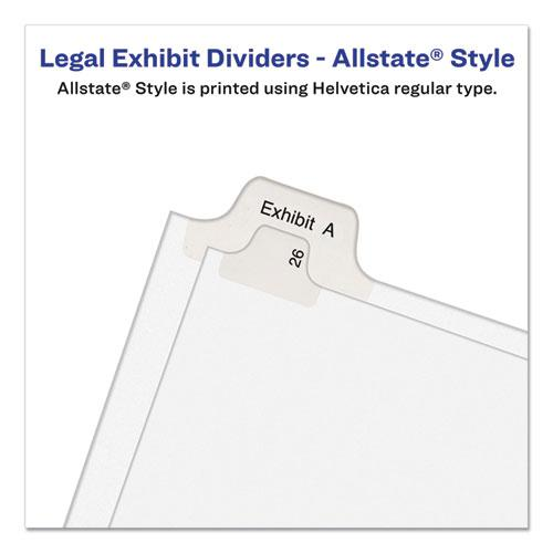 Preprinted Legal Exhibit Side Tab Index Dividers, Allstate Style, 10-Tab, 18, 11 x 8.5, White, 25/Pack. Picture 2