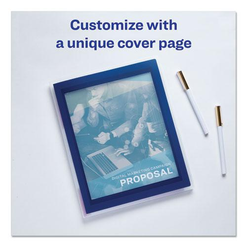 Flexi-View Six-Pocket Polypropylene Organizer, 150-Sheet Cap., Translucent/Navy. Picture 4