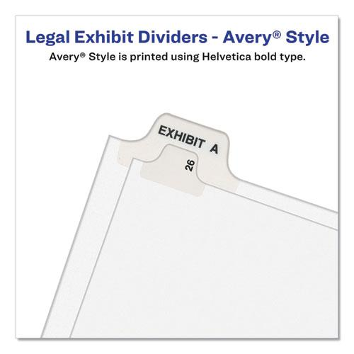 Preprinted Legal Exhibit Bottom Tab Index Dividers, Avery Style, 27-Tab, Exhibit A to Exhibit Z, 11 x 8.5, White, 1 Set. Picture 2