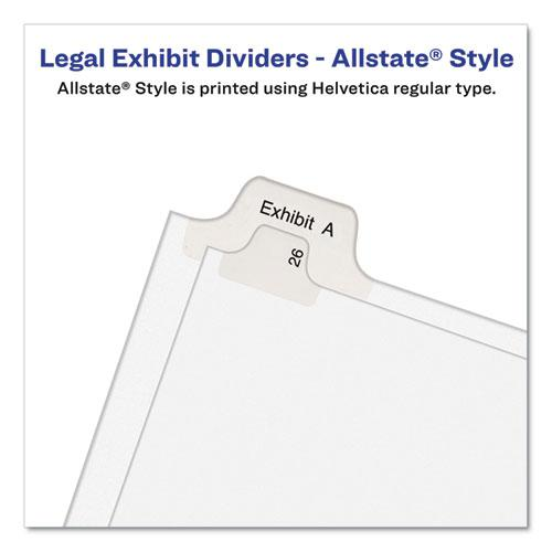Preprinted Legal Exhibit Side Tab Index Dividers, Allstate Style, 26-Tab, W, 11 x 8.5, White, 25/Pack. Picture 3