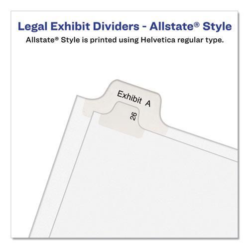 Preprinted Legal Exhibit Side Tab Index Dividers, Allstate Style, 26-Tab, Exhibit A to Exhibit Z, 11 x 8.5, White, 1 Set. Picture 3
