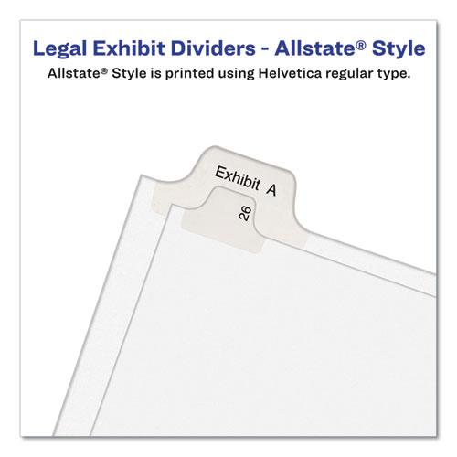 Preprinted Legal Exhibit Side Tab Index Dividers, Allstate Style, 10-Tab, 38, 11 x 8.5, White, 25/Pack. Picture 3
