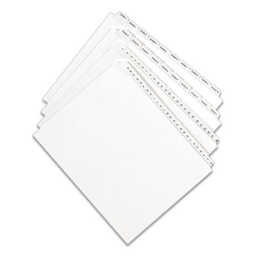 Preprinted Legal Exhibit Side Tab Index Dividers, Allstate Style, 10-Tab, 9, 11 x 8.5, White, 25/Pack. Picture 4