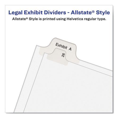 Preprinted Legal Exhibit Side Tab Index Dividers, Allstate Style, 10-Tab, 4, 11 x 8.5, White, 25/Pack. Picture 5