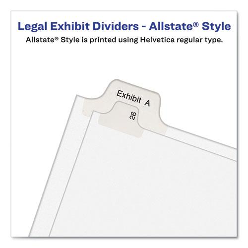 Preprinted Legal Exhibit Side Tab Index Dividers, Allstate Style, 10-Tab, 10, 11 x 8.5, White, 25/Pack. Picture 3