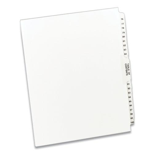 Preprinted Legal Exhibit Side Tab Index Dividers, Avery Style, 26-Tab, 76 to 100, 11 x 8.5, White, 1 Set. Picture 1