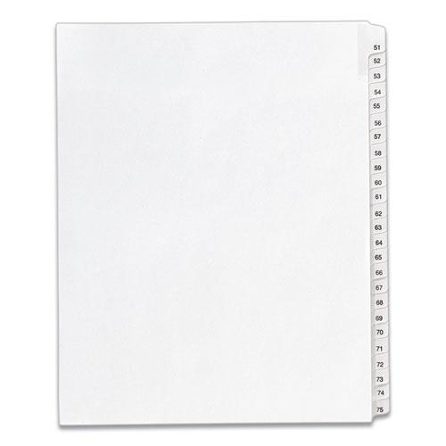 Preprinted Legal Exhibit Side Tab Index Dividers, Allstate Style, 25-Tab, 51 to 75, 11 x 8.5, White, 1 Set, (1703). Picture 1