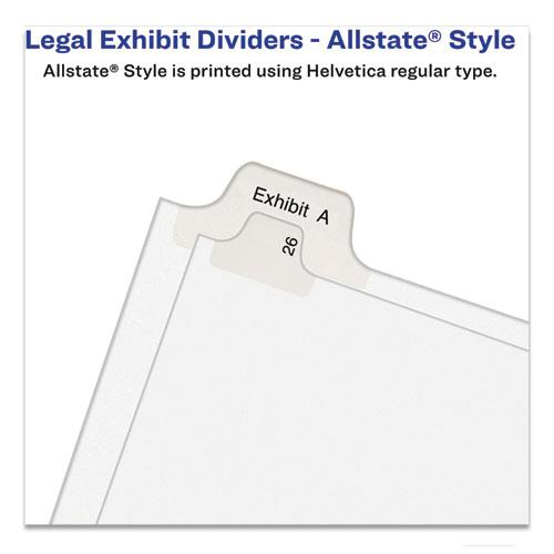 Preprinted Legal Exhibit Side Tab Index Dividers, Allstate Style, 10-Tab, 1, 11 x 8.5, White, 25/Pack. Picture 3