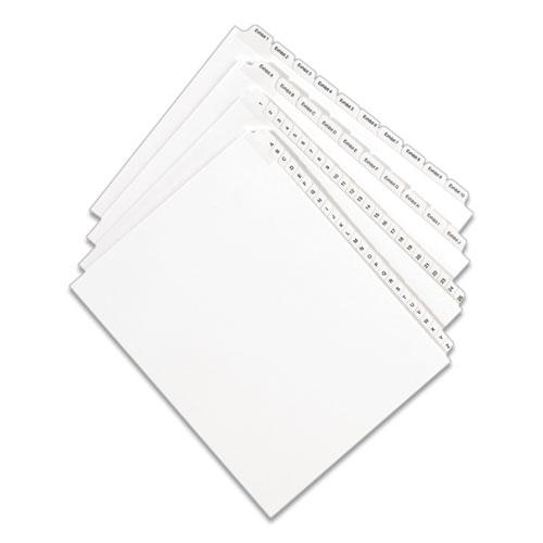 Preprinted Legal Exhibit Side Tab Index Dividers, Allstate Style, 10-Tab, 8, 11 x 8.5, White, 25/Pack. Picture 2