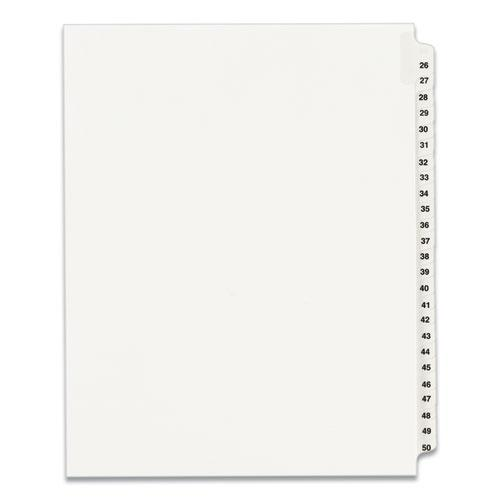 Preprinted Legal Exhibit Side Tab Index Dividers, Avery Style, 25-Tab, 26 to 50, 11 x 8.5, White, 1 Set, (1331). Picture 1