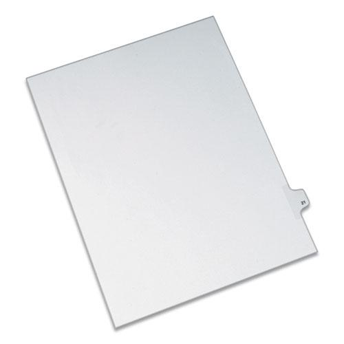 Preprinted Legal Exhibit Side Tab Index Dividers, Allstate Style, 10-Tab, 21, 11 x 8.5, White, 25/Pack. Picture 1