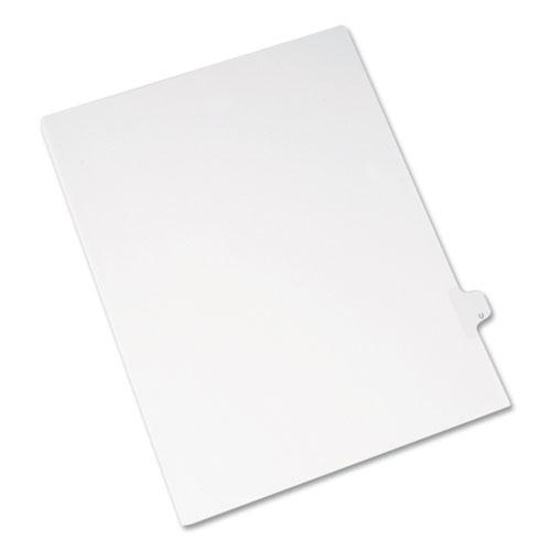 Preprinted Legal Exhibit Side Tab Index Dividers, Allstate Style, 26-Tab, U, 11 x 8.5, White, 25/Pack. Picture 1