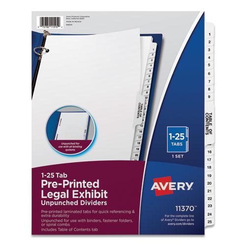 Preprinted Legal Exhibit Side Tab Index Dividers, Avery Style, 25-Tab, 1 to 25, 11 x 8.5, White, 1 Set. Picture 1