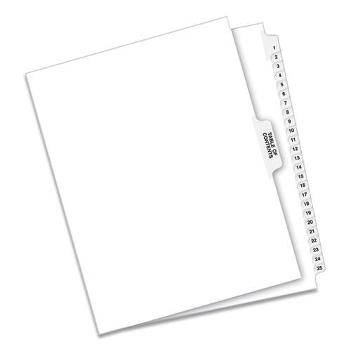 Preprinted Legal Exhibit Side Tab Index Dividers, Avery Style, 25-Tab, 1 to 25, 11 x 8.5, White, 1 Set. Picture 2