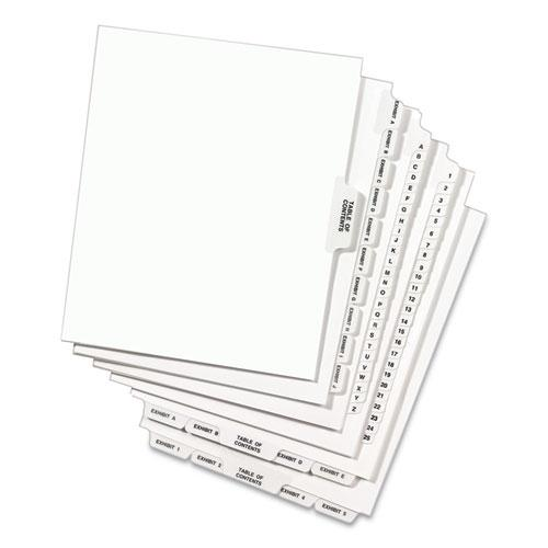 Preprinted Legal Exhibit Side Tab Index Dividers, Avery Style, 10-Tab, 10, 11 x 8.5, White, 25/Pack. Picture 4