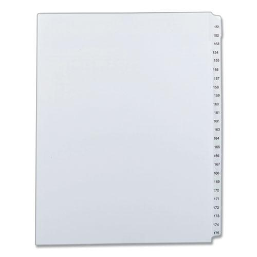 Preprinted Legal Exhibit Side Tab Index Dividers, Allstate Style, 25-Tab, 151 to 175, 11 x 8.5, White, 1 Set. Picture 1