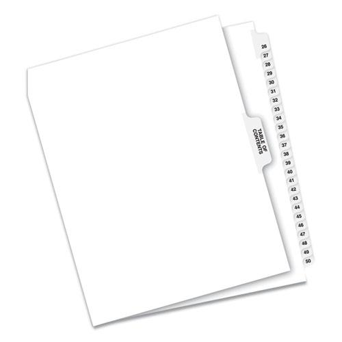 Preprinted Legal Exhibit Side Tab Index Dividers, Avery Style, 26-Tab, 26 to 50, 11 x 8.5, White, 1 Set. Picture 1