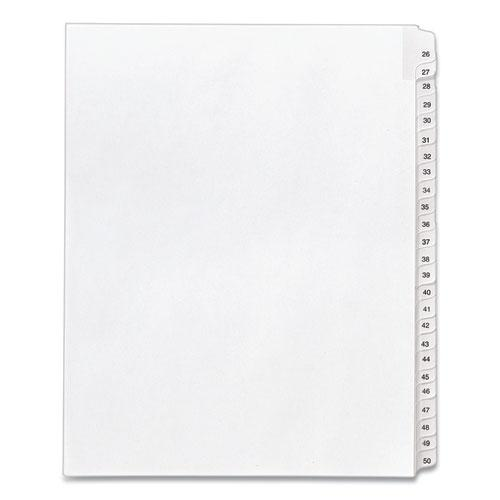 Preprinted Legal Exhibit Side Tab Index Dividers, Allstate Style, 25-Tab, 26 to 50, 11 x 8.5, White, 1 Set, (1702). Picture 1