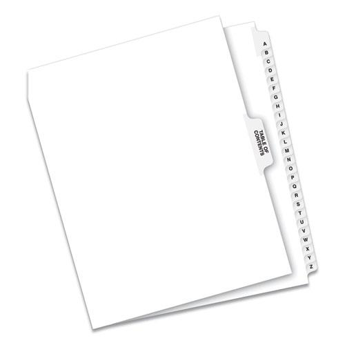 Preprinted Legal Exhibit Side Tab Index Dividers, Avery Style, 27-Tab, A to Z, 11 x 8.5, White, 1 Set. Picture 1
