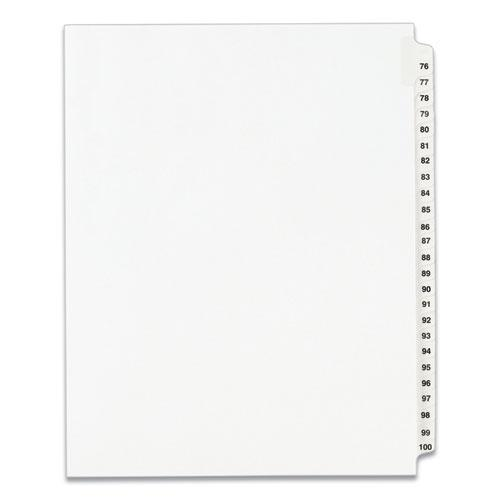 Preprinted Legal Exhibit Side Tab Index Dividers, Avery Style, 25-Tab, 76 to 100, 11 x 8.5, White, 1 Set, (1333). Picture 1