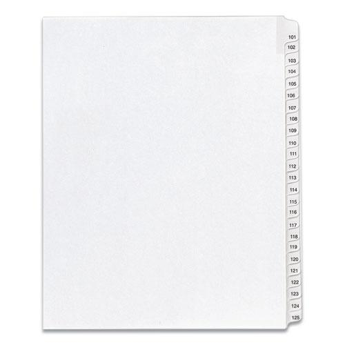 Preprinted Legal Exhibit Side Tab Index Dividers, Allstate Style, 25-Tab, 101 to 125, 11 x 8.5, White, 1 Set, (1705). Picture 1