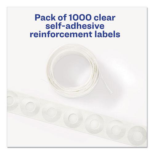 """Dispenser Pack Hole Reinforcements, 1/4"""" Dia, Clear, 1000/Pack, (5722). Picture 6"""