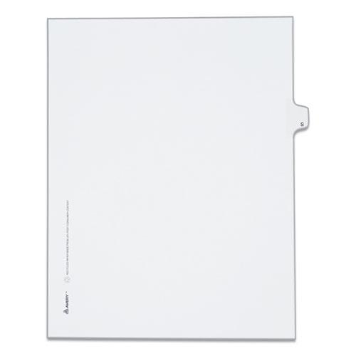Preprinted Legal Exhibit Side Tab Index Dividers, Allstate Style, 26-Tab, S, 11 x 8.5, White, 25/Pack. Picture 1