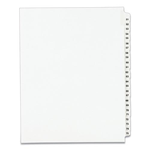 Preprinted Legal Exhibit Side Tab Index Dividers, Avery Style, 25-Tab, 51 to 75, 11 x 8.5, White, 1 Set, (1332). Picture 1