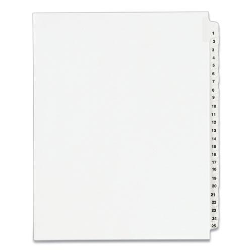 Preprinted Legal Exhibit Side Tab Index Dividers, Avery Style, 25-Tab, 1 to 25, 11 x 8.5, White, 1 Set, (1330). Picture 1