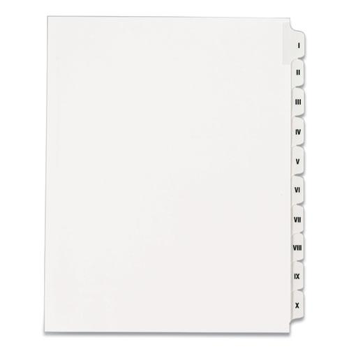 Preprinted Legal Exhibit Side Tab Index Dividers, Allstate Style, 10-Tab, I to X, 11 x 8.5, White, 1 Set. Picture 1