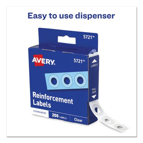 """Dispenser Pack Hole Reinforcements, 1/4"""" Dia, Clear, 200/Pack, (5721). Picture 3"""