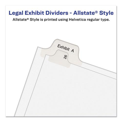 Preprinted Legal Exhibit Side Tab Index Dividers, Allstate Style, 10-Tab, 11, 11 x 8.5, White, 25/Pack. Picture 3