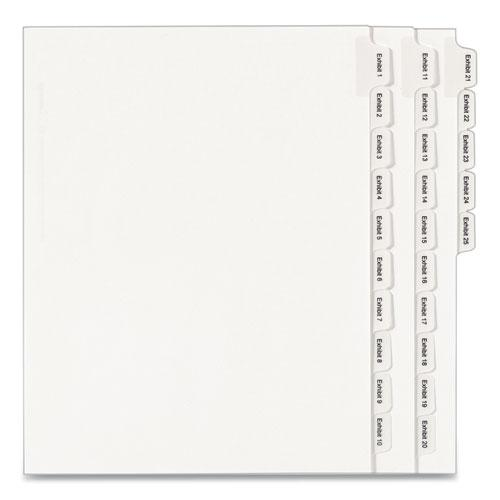 Preprinted Legal Exhibit Side Tab Index Dividers, Allstate Style, 25-Tab, Exhibit 1 to Exhibit 25, 11 x 8.5, White, 1 Set. Picture 1