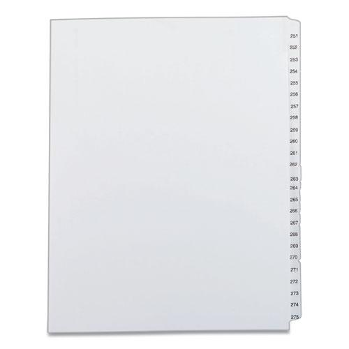 Preprinted Legal Exhibit Side Tab Index Dividers, Allstate Style, 25-Tab, 251 to 275, 11 x 8.5, White, 1 Set. Picture 1