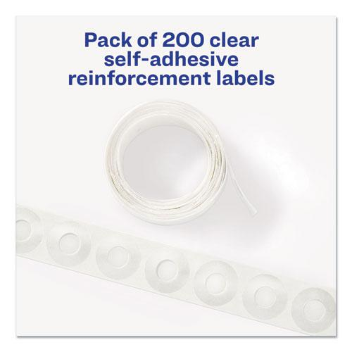 """Dispenser Pack Hole Reinforcements, 1/4"""" Dia, Clear, 200/Pack, (5721). Picture 7"""