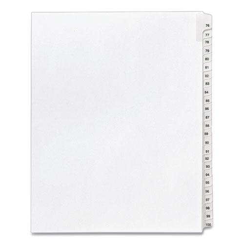 Preprinted Legal Exhibit Side Tab Index Dividers, Allstate Style, 25-Tab, 76 to 100, 11 x 8.5, White, 1 Set, (1704). Picture 1
