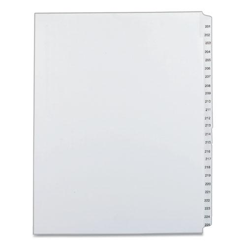 Preprinted Legal Exhibit Side Tab Index Dividers, Allstate Style, 25-Tab, 201 to 225, 11 x 8.5, White, 1 Set. Picture 1
