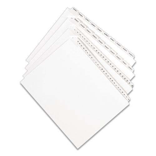 Preprinted Legal Exhibit Side Tab Index Dividers, Allstate Style, 10-Tab, 7, 11 x 8.5, White, 25/Pack. Picture 6