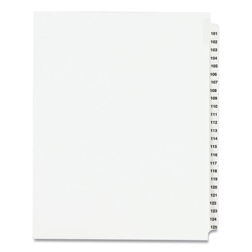 Preprinted Legal Exhibit Side Tab Index Dividers, Avery Style, 25-Tab, 101 to 125, 11 x 8.5, White, 1 Set, (1334). Picture 1