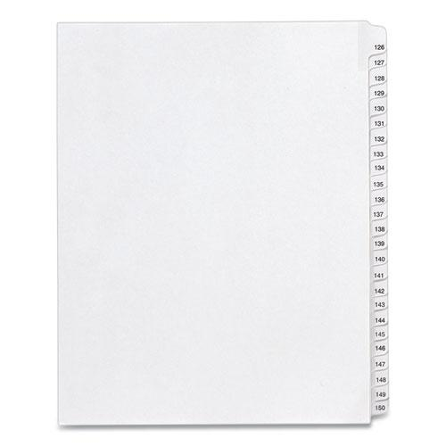 Preprinted Legal Exhibit Side Tab Index Dividers, Allstate Style, 25-Tab, 126 to 150, 11 x 8.5, White, 1 Set, (1706). Picture 1
