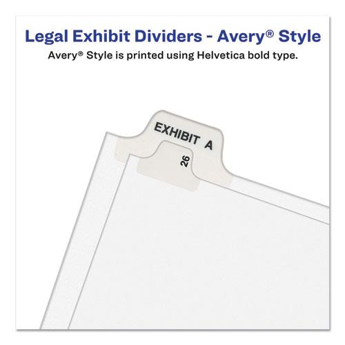 Preprinted Legal Exhibit Side Tab Index Dividers, Avery Style, 10-Tab, 4, 11 x 8.5, White, 25/Pack. Picture 2