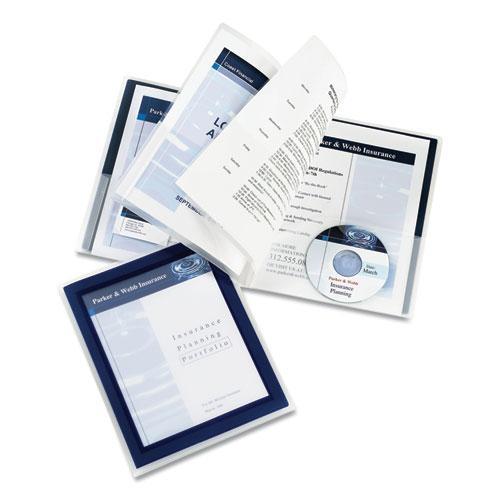 Flexi-View Six-Pocket Polypropylene Organizer, 150-Sheet Cap., Translucent/Navy. Picture 2
