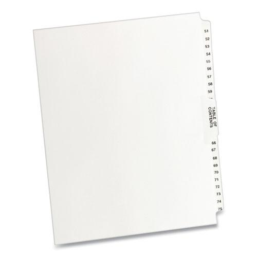 Preprinted Legal Exhibit Side Tab Index Dividers, Avery Style, 26-Tab, 51 to 75, 11 x 8.5, White, 1 Set. Picture 1
