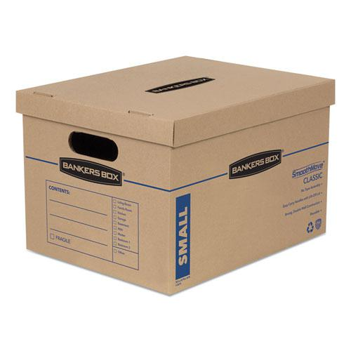 """SmoothMove Classic Moving & Storage Boxes, Small, Half Slotted Container (HSC), 15"""" x 12"""" x 10"""", Brown Kraft/Blue, 20/Carton. Picture 1"""