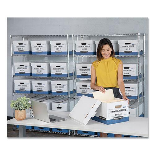 "STOR/FILE Medium-Duty Storage Boxes, Legal Files, 15.88"" x 25.38"" x 10.25"", White/Blue, 12/Carton. Picture 3"